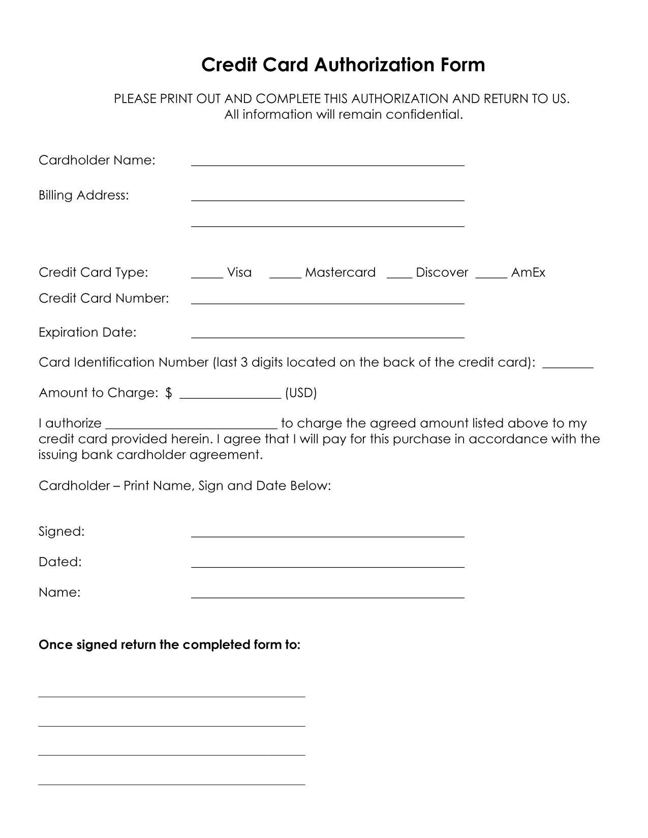 credit card authorization forms from service related generic credit card authorization forms